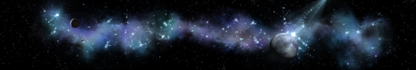 Panorama of star clusters. planet against the background galaxies