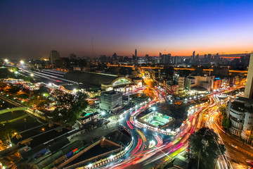 BANGKOK /THAILAND-February 4.Rama IV Junction near Hualumpong railway station in Bangkok Thailand on February 4,2017.