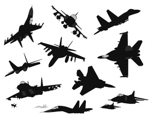 Military aircrafts vector silhouettes set
