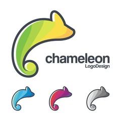 Outline Design Logo of Abstract Chameleon