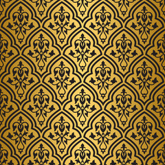 Seamless gold and black floral pattern