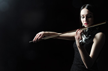 The girl in a dress playing the violin, art, emotions