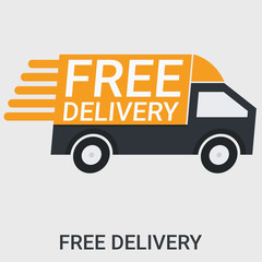 Free delivery in a flat design ,llustration vector ,Marketing concept