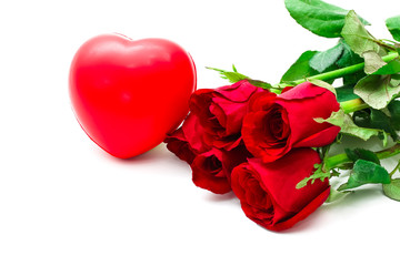 Bunch of red rose with sponge heart on white background, valentine day concept