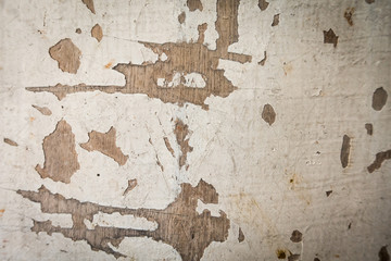 Fotobehang Oude vuile getextureerde muur Stained damage white paint on wooden board