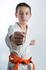 Karate, martial arts, a young guy blows, martial arts