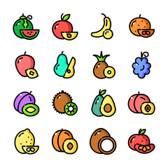 Thin line Fruits icons set, vector illustration