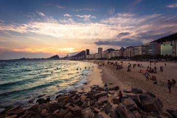 Sunset in Copacabana Beach in Rio de Janeiro