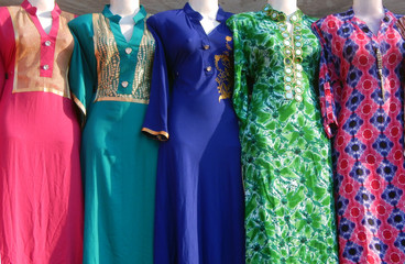 Mannequins dressed in latest Indian fashion clothes kept in front of retail shop
