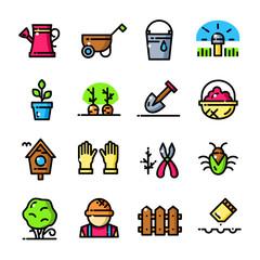 Thin line Garden icons set, vector illustration
