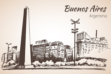 Buenos Aires cityscape with obelisk. Argentina. Sketch.
