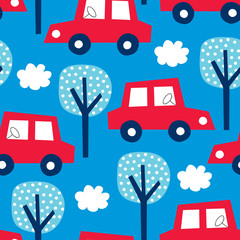 seamless red car with blue background pattern vector illustration