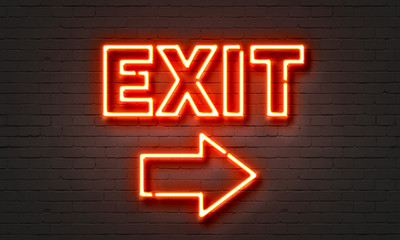 Exit neon sign on brick wall background. Wall mural