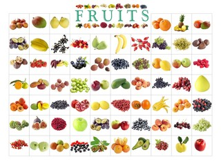 set of fruits and vegetables as background