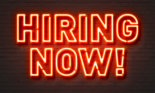 Hiring now neon sign on brick wall background.