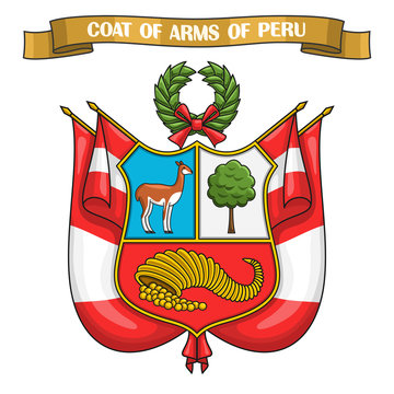 Vector illustration on theme Peruvian Coat of Arms, heraldic shield on national state flags - Emblem of Peru, on ribbon title text: coat of arms of peru, peruvian official heraldry, symbolic emblem.