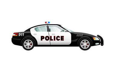 Police Car in Simple Cartoon Design. Speed Vehicle