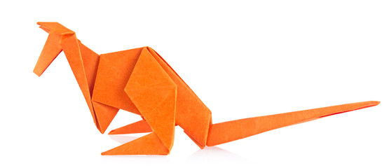Orange kangaroo of origami