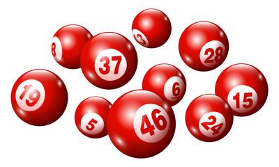 Vector Bingo / Lottery Number Balls Set - Red