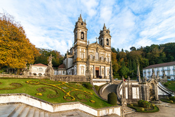 Bom Jesus do Monte Monastery in Braga in a warm evening, Portugal