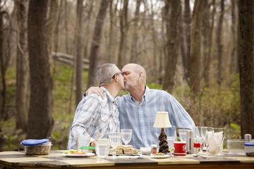 Gay couple kissing at picnic table