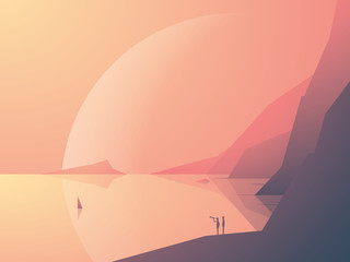 Sci-fi fantasy landscape vector illustration background with ocean bay and planet in background. Symbol of adventure, exploration.