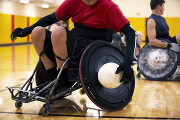 Disabled athletes playing ball