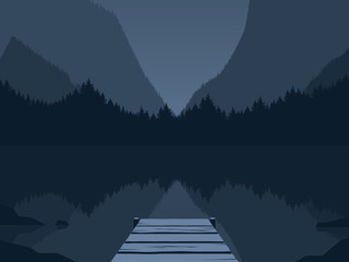 Night at the mountain lake vector illustration. Symbol of freedom, adventure, vacation, tourism, hiking in the wilderness.