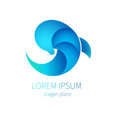Blue dolphin sea Icon. Logo of tourism, resort, tourism, Spa, cosmetics, waterpark and other. Marine mammal jumps out of the water. Company logo design.