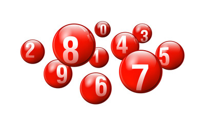 Vector Bingo / Lottery Number Balls Set - Red - 0 to 9