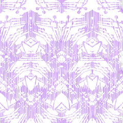 Hand painted pattern with damask and ikat motifs