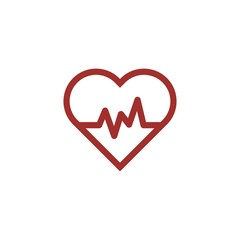 Flat Line Heart Beat Logo or Icon. Isolated on white background.