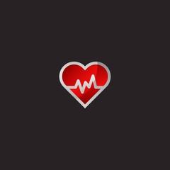 Heart Beat Icon or Logo. Isolated on Black background.
