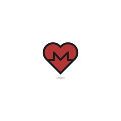 Red Heart Beat Logo or Icon. Isolated on white background.