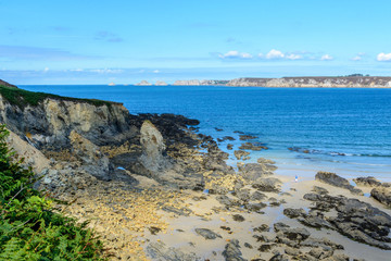 Sandy beach in sea bay at Camaret,Brittany