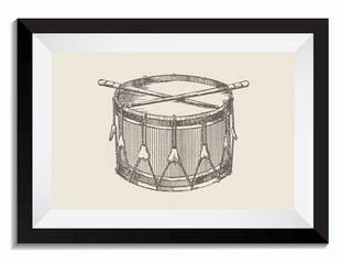 Vintage Retro Vector Drawing Illustration of a Drum Graphic Ressource in a Frame. Perfect for Web Design, T-Shirt Graphics, Shirts, Scrapbooking, Logos, Badges and Insignia.
