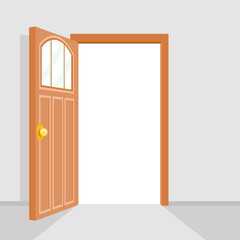 Open Door House Background Flat Design Isolated Vector Illustration