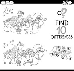 difference game with santa for coloring