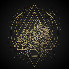 rose flower with sacred geometry frame. Tattoo, mystic symbol. Boho print, poster, t-shirt. textiles. Golden engraving on dark background. Hand-drawn, retro card design. Isolated vector illustration.