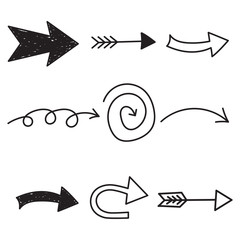 Arrows icon set. Hand drawn vector illustration on white background.