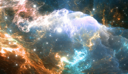 Glowing Space Nebula. Detail