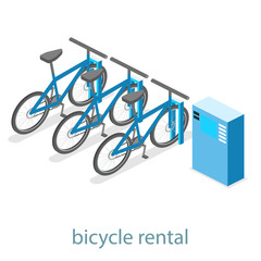 Isometric flat 3D isolated vector cutaway interior bicycle rental