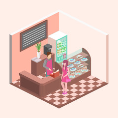 Isometric interior of sweet-shop. People sit at the table and eating.