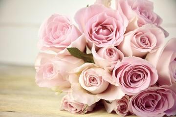 Grußkarte - rosa Rosenstrauß - Nostalgisch