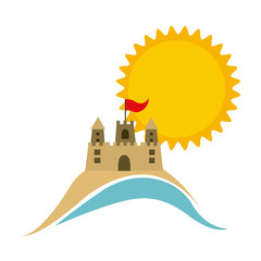 symbol beach with castle icon image, vector illustration