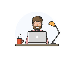 Vector illustration of happy man with beard working on computer.