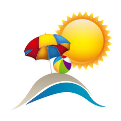 symbol beach with parasol icon image, vector illustration