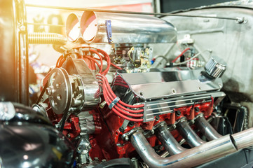 Engine of a hot rod