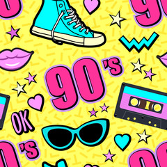 Vector neon pop background 80s, 90s