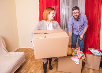 Family moving into a new apartment
